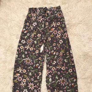 grey floral pants